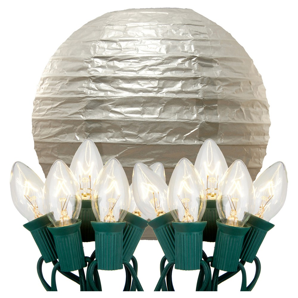 "Image of ""10ct 10"""" Electric String Light with Paper Lanterns Silver"""