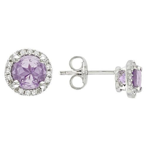 Amethyst and Diamond Earrings in Sterling Silver - Purple, Women's