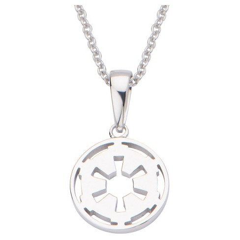 "Women's  'Star Wars' Imperial Symbol 925 Sterling Silver Cutout Pendant with Chain (18"") - image 1 of 2"