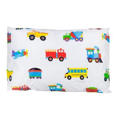 Trains with Planes and Trucks 100% Cotton Hypoallergenic Pillow Case - WildKin