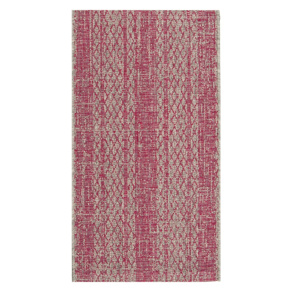 Grady 2' x 3'7 Indoor/Outdoor Rug - Light Gray/Fuchsia (Light Gray/Pink) - Safavieh