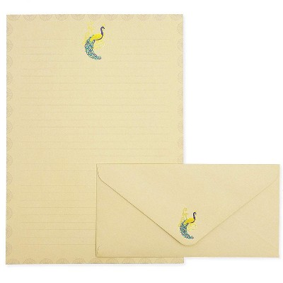 "48-Sheet Elegant Peacock Stationery Paper with Envelopes Set, 10.25"" x 7.25"""