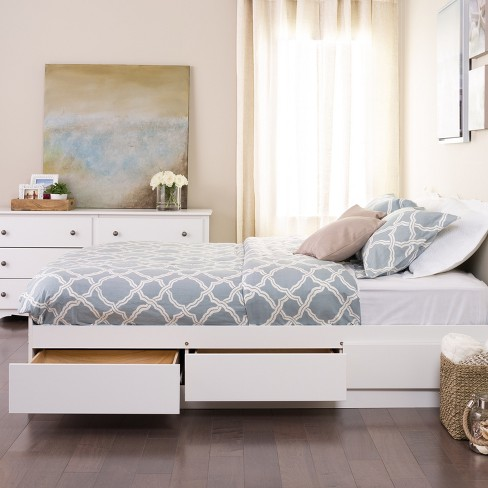 Queen Mate's Platform Storage Bed with 6 Drawers White - Prepac - image 1 of 4