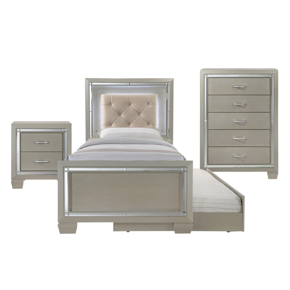 Image of 3pc Glamour Youth Twin Platform with Trundle Bedroom Set Champagne - Picket House Furnishings, Beige