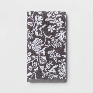 Performance Hand Towel Dark Gray Floral - Threshold™