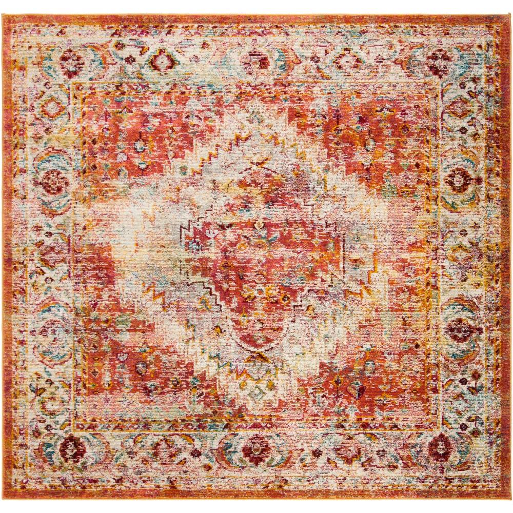 7'X7' Medallion Loomed Square Area Rug Orange - Safavieh