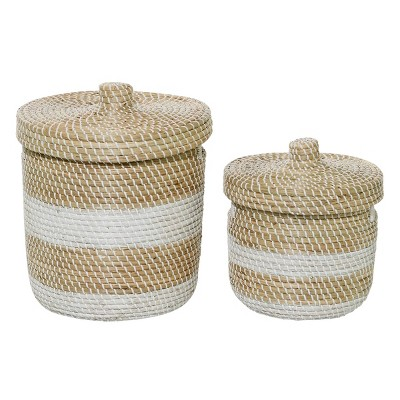 "Olivia & May 13""x17"" Set of 2 Small Woven Striped Round Seagrass Basket with Lid White/Natural"
