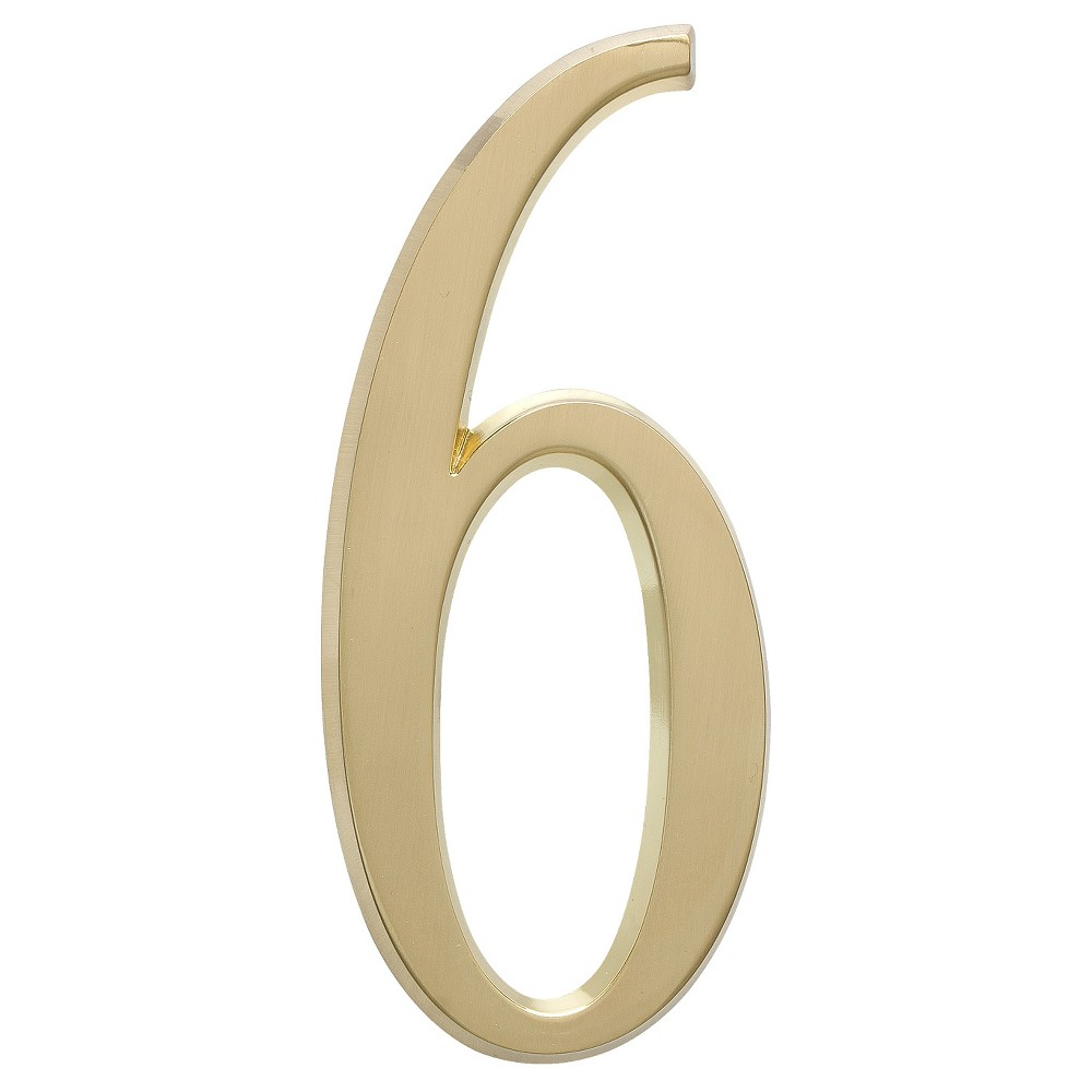 "Image of ""4.75"""" House Number 6 - Satin Brass - Whitehall Products"""