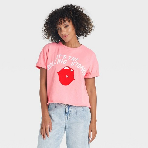 Women's The Rolling Stones Lips Short Sleeve Graphic T-Shirt - Pink - image 1 of 2