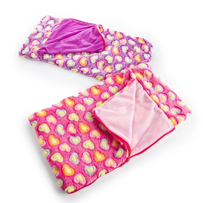 The Queen's Treasures Set of Two Pink & Purple 18 Inch Doll Sleeping Bags