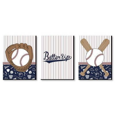 Big Dot of Happiness Batter Up - Baseball - Sports Themed Nursery Wall Art, Kids Room Decor & Game Room Home Decor - 7.5 x 10 inches - Set of 3 Prints