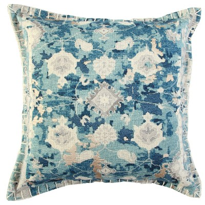 """20""""x20"""" Oversize Abstract Square Throw Pillow Cover Blue - Rizzy Home"""