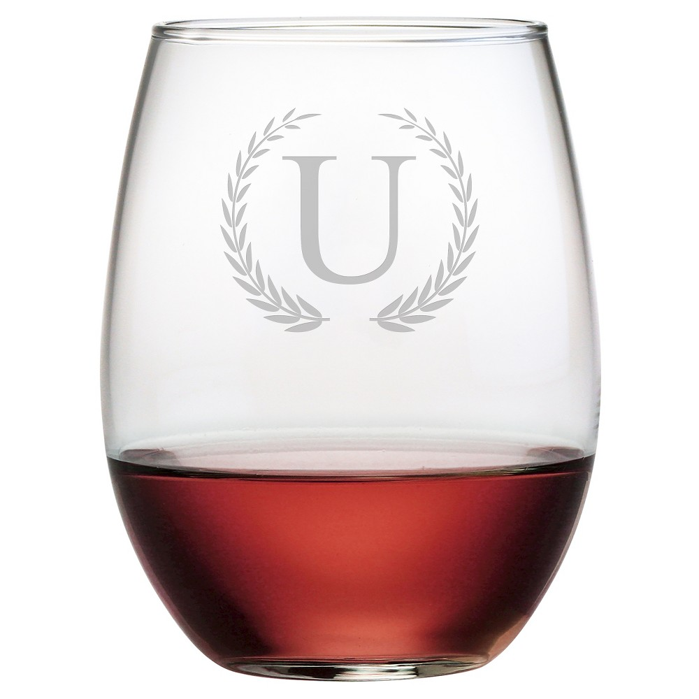 Susquehanna 21oz Glass Wreath Monogram Stemless Wine Glasses - U - Set of 4, Clear