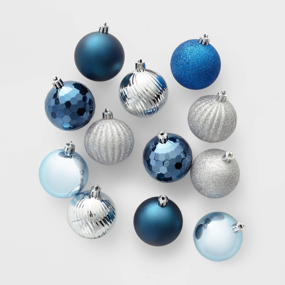Image of 100ct Christmas Ornament Set Blue and Silver - Wondershop , Silver Blue