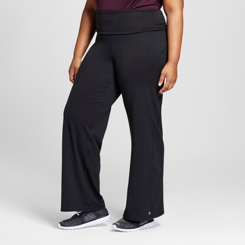 "Women's Plus Size Everyday Wide Leg Pants 31.5"" - C9 Champion® Black - image 1 of 3"