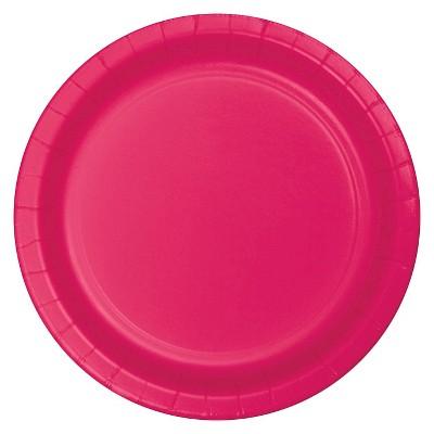 "Hot Magenta Pink 7"" Dessert Plates - 24ct"