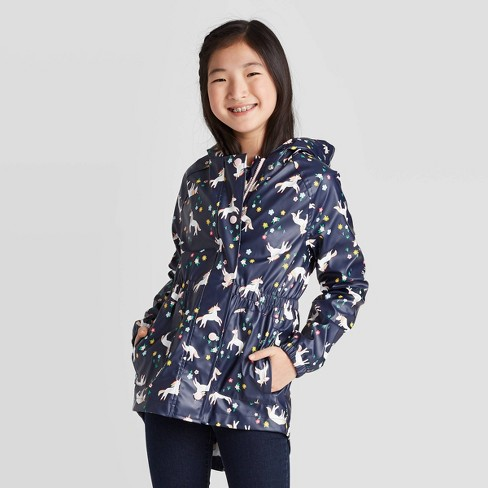 Girls' Unicorn All Over Print Rain Coats And Jackets - Cat & Jack™ Navy - image 1 of 3
