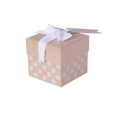 Kraft with White Dots Gift Box - Spritz™ - image 1 of 1