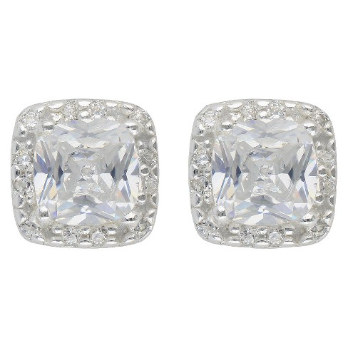 Women's Sterling Silver Cubic Zirconia Button Earrings and Square Halo - Silver/Clear - image 1 of 1