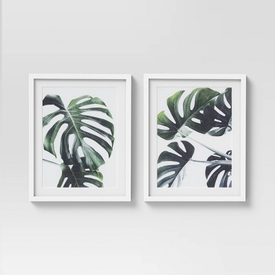 "(Set of 2)16"" x 20"" Tropical Leaves Framed Wall Art White/Green - Project 62™"