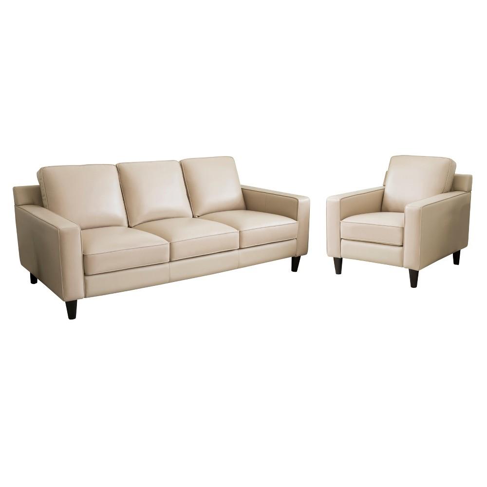 Image of 2pc Olivia Top Grain Leather Sofa & Armchair Set Cream (Ivory) - Abbyson Living