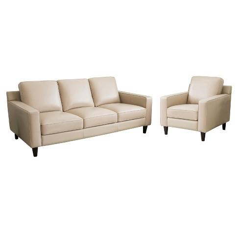 2pc Olivia Top Grain Leather Sofa, Grain Leather Sofa