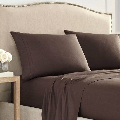 Queen Luxury 2000 Series Ultra Soft Hemstitched Solid Sheet Set Brown - Martex