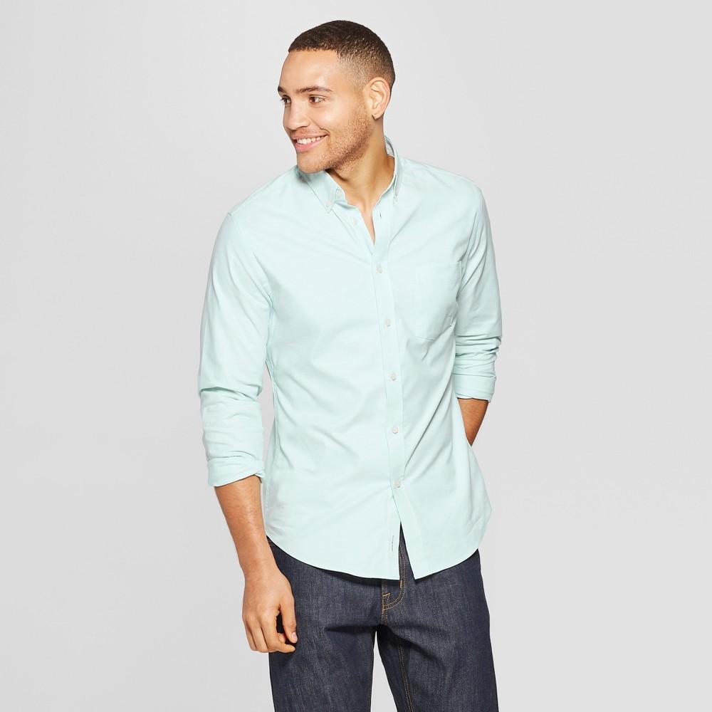 Men's Slim Fit Long Sleeve Whittier Oxford Button-Down Shirt - Goodfellow & Co Alpine L, Green