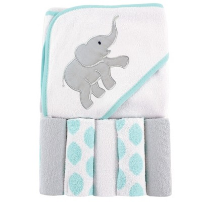 Luvable Friends Baby Unisex Hooded Towel with Five Washcloths, Ikat Elephant, One Size