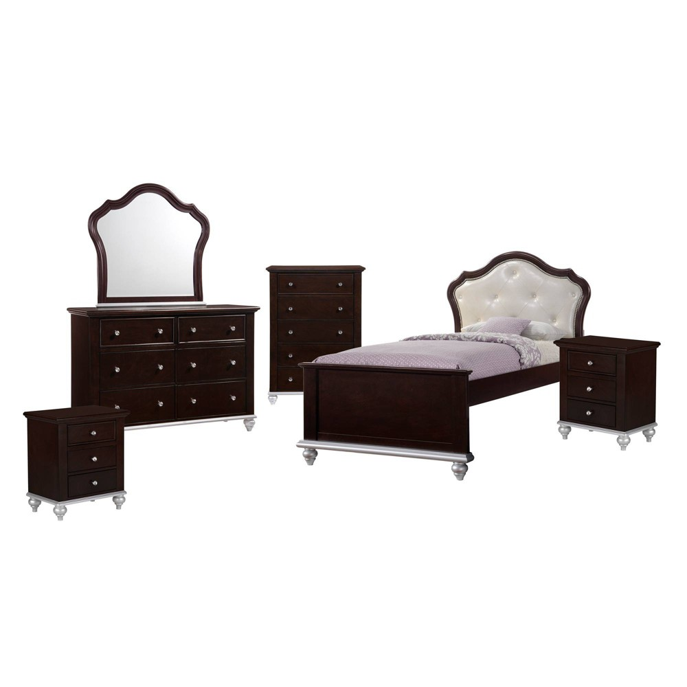 6pc Twin Alli Platform Bedroom Set with Trundle Walnut brown - Picket House Furnishings