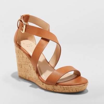 1737205f2570 Women s Cecilia Strappy Cork Wedge Ankle Strap Sandal - A New Day™