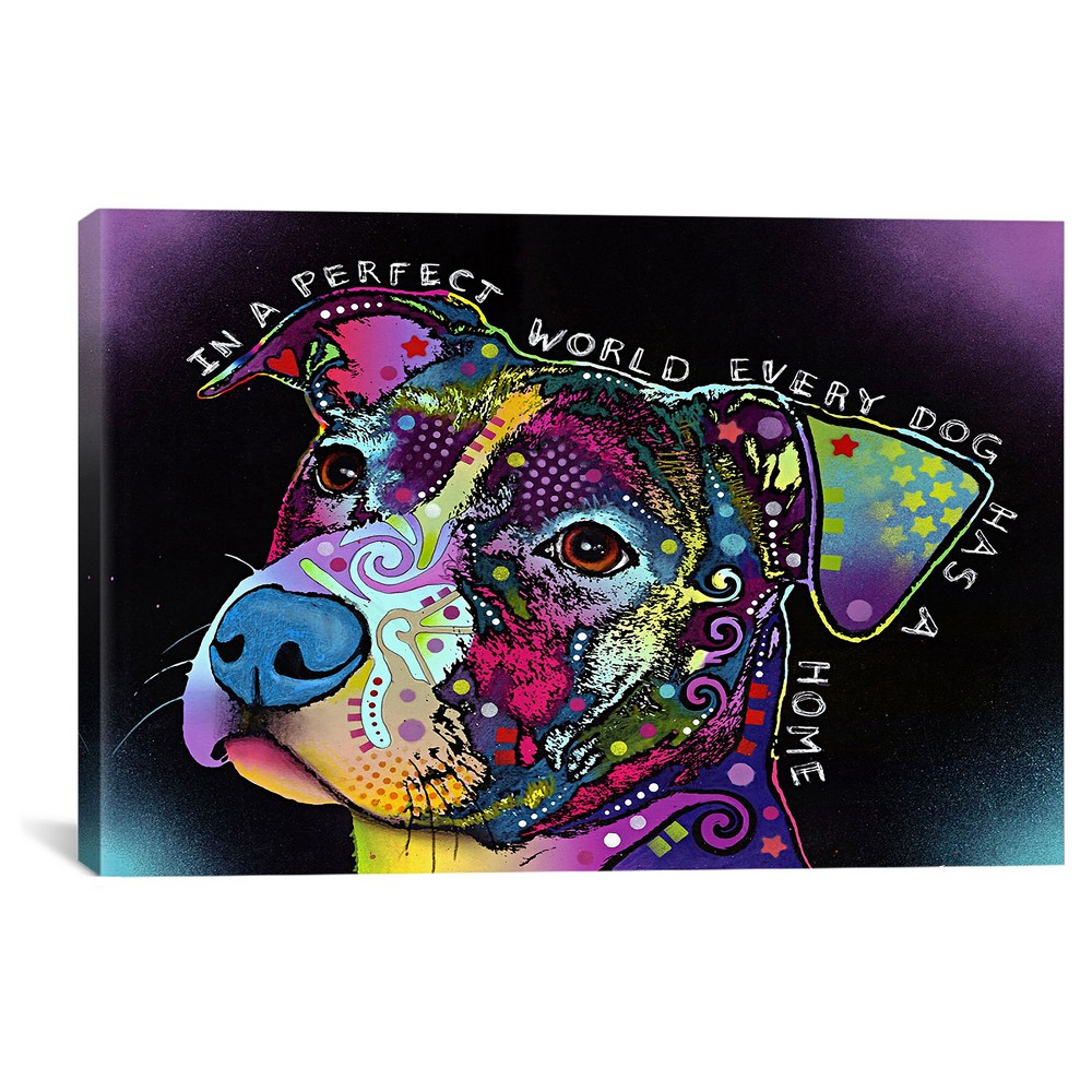 "Image of ""12"""" x 18"""" In a Perfect World by Dean Russo Canvas Print - iCanvas, Size: 12 x 18, Purple Multicolored Blue Black"""