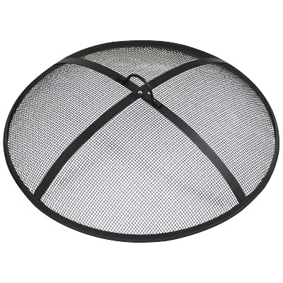 """Sunnydaze Outdoor Heavy-Duty Steel Mesh Round Camp Fire Pit Spark Screen Lid with Handle - 24"""" - Black"""