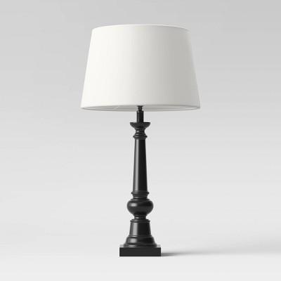 Column Lamp Black with Linen Shade - Threshold™