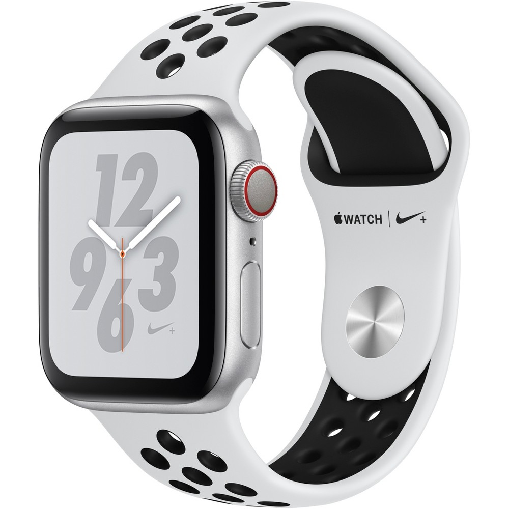 Apple Watch Series 4 Nike+ Gps & Cellular 40mm Silver Aluminum Case with Nike Sport Band - Pure Platinum/Black, White Sport Band Track your runs with Gps and altimeter. Pair your watch wirelessly with compatible gym equipment. Apple Watch Nike+ is swimproof, so you can take a post-run dip in the pool. And built-in cellular lets you stream your favorite music and get phone calls, messages, and notifications—even when you don't have your phone. There are new Nike watch faces and bands: The Nike Sport Band with compression-molded perforations for breathability and the Nike Sport Loop is woven with a special reflective thread. Selection may vary; see a sales associate for available models. Apple Watch Series 4 (Gps + Cellular) requires an iPhone 6 or later with iOS 12 or later. Wireless service plan required for cellular service. Apple Watch and iPhone service provider must be the same. Not all service providers support enterprise accounts; check with your employer and service provider. Roaming is not available outside your carrier network coverage area. Contact your service provider for more details. Iso standard 22810:2010. Appropriate for shallow-water activities like swimming. Submersion below shallow depth and high-velocity water activities not recommended. Compared with the previous generation. Color: White Sport Band.