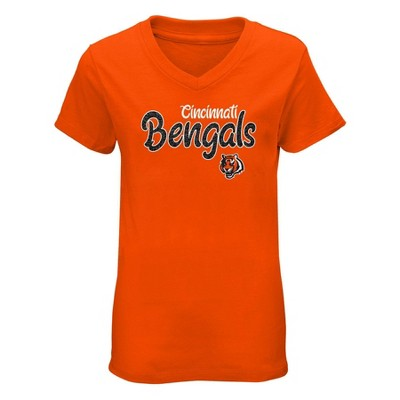 NFL Cincinnati Bengals Girls' Short Sleeve V-Neck Core T-Shirt
