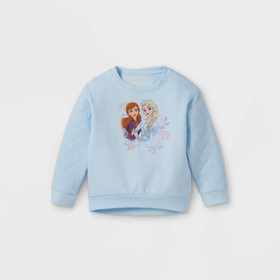 Toddler Girls' Disney Frozen Quilted Fleece Crew Neck Pullover - Light Blue