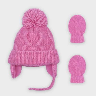 Baby Girls' Cable Knit Hat and Magic Mittens Set - Cat & Jack™ Pink 0-6M