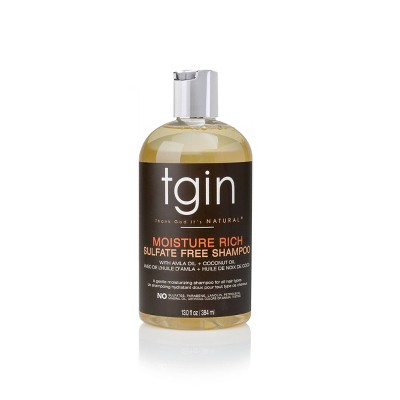 TGIN Moisture Rich Sulfate Free Shampoo For Natural Hair with Amla Oil and Coconut Oil -13 fl oz
