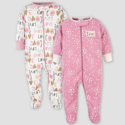 Gerber Baby Girls' 2pk Organic Cotton Love Sleep N' Play - Pink/White 0-3M