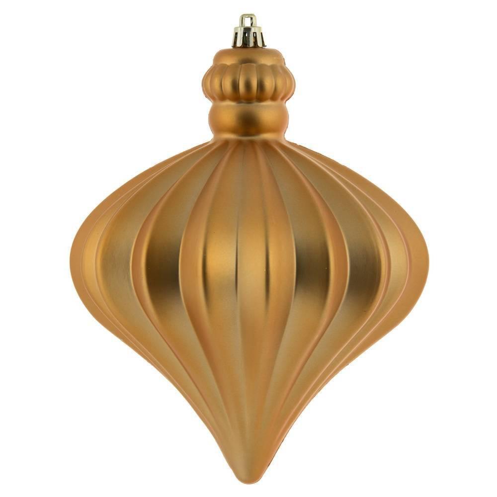 "Image of ""4ct Vickerman 6"""" Matte Onion Drop Ornament Set Copper Gold"""