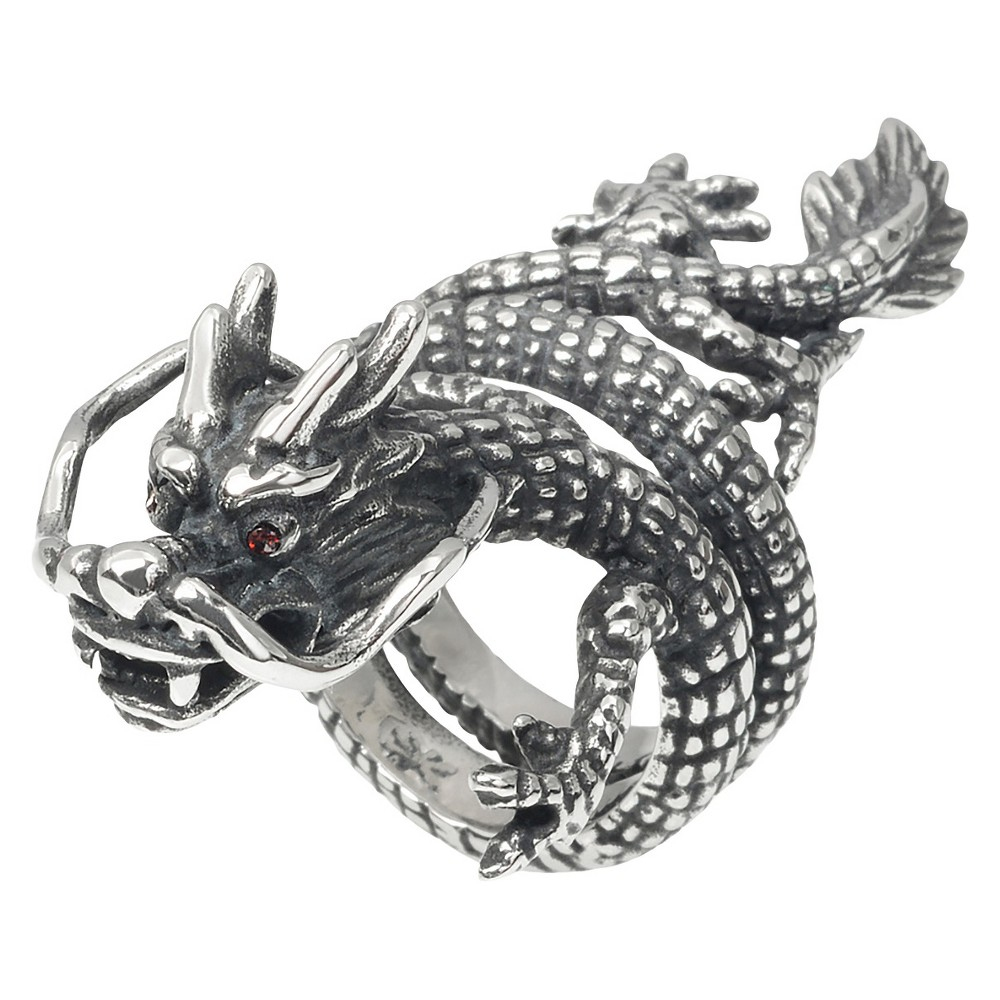 Men's 1/6 CT. T.W. Round Cut CZ Inlaid Dragon Ring in Stainless Steel - Silver (12)