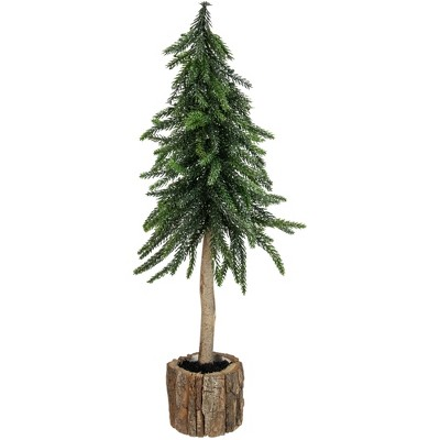 Northlight 14.75in Downswept Glittered Artificial Mini Christmas Tree Wood Base - Unlit