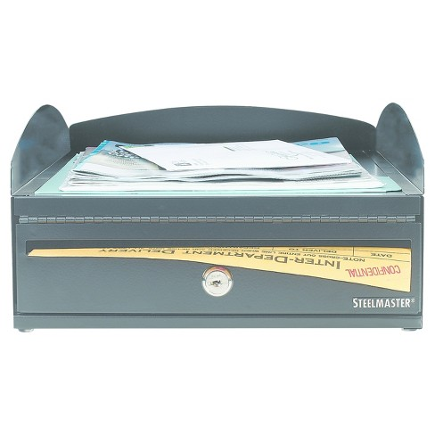SteelMaster LockIt Inbox Desk Tray, Single Tier with Locking Box, 11 x 14 1/4 x 5 7/8, Black - image 1 of 2
