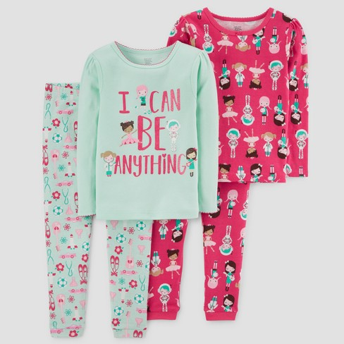 Toddler Girls' 4pc I can Be Anything Long Sleeve Pajama Set - Just One You® made by carter's Green - image 1 of 1