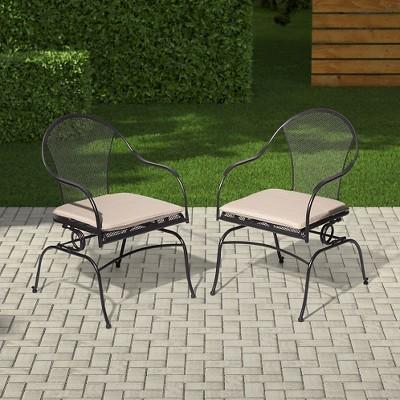 Hamlake 2pc Wrought Iron Patio Motion Dining Chair Set : Target