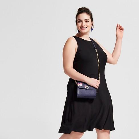 Womens Plus Size Knit Fit And Flare Dress Ava Viv Black 3x