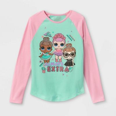 Girls' L.O.L. Surprise! Always Extra Raglan Long Sleeve Graphic T-Shirt - Pink/Green