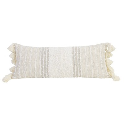 """14""""x36"""" Stacey Hand Woven Trim Throw Pillow with Tassel Beige - Décor Therapy"""