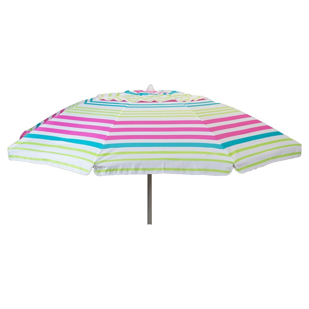 Parasol 7' Aluminum Collar Tilt Beach Umbrella with Travel Bag- Pink Stripe